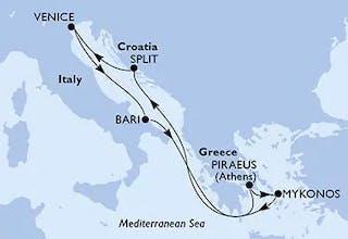 Venice,  Bari,  Piraeus,  Mykonos,  Split,  Venice